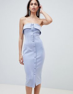 Read more about Asos design button through scuba bandeau pencil midi dress - blue
