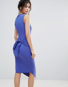 Read more about Club l split front pencil dress with tie back detail - cobalt