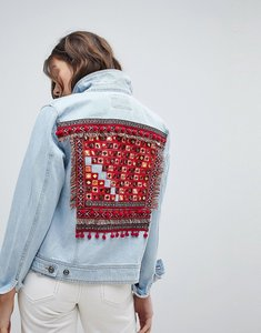 Read more about Only embroidered back denim jacket - light blue denim