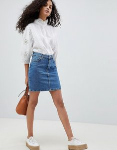 Read more about Asos design denim original high waisted skirt in midwash blue - blue