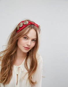 Read more about Johnny loves rosie embellished wide knot band - red