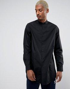 Read more about Asos regular fit super longline shirt with grandad collar in black - black