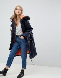 Read more about Brave soul full moon maxi parka coat - navy