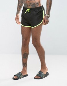 Read more about Asos swim shorts with extreme side split in black with side mesh detail in super short length - blac
