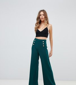 Read more about Boohoo button front wide leg trouser in green