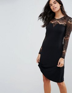 Read more about Y a s ciccu long lace sleeved shift dress - black