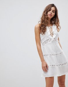 Read more about Glamorous lace up dress with frill - white