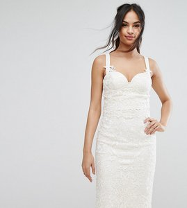 Read more about Chi chi london corset bustier in crochet lace co ord - white