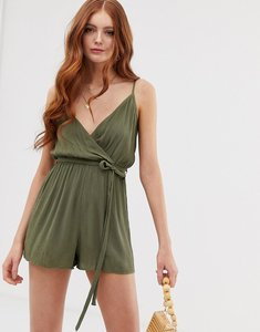 Read more about Asos design wrap tie front playsuit in crinkle
