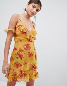 Read more about Missguided cold shoulder floral polka dot dress - mustard
