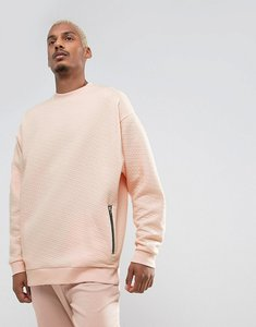 Read more about Asos oversized longline quilted sweatshirt with zip pockets - pink