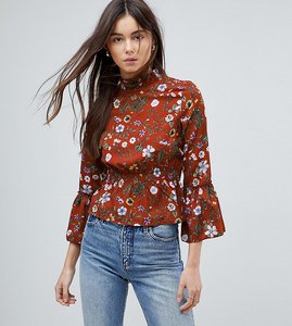 Read more about Parisian tall high neck floral printed blouse - rust