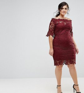Read more about Paper dolls plus off shoulder crochet dress with frill sleeve - burgundy