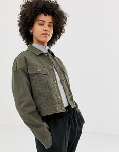 Read more about Asos design denim jacket with detachable lining in khaki - khaki