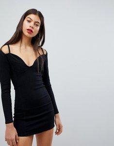 Read more about Liquor n poker denim bralet detail dress - washed black