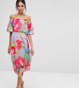 Read more about Every cloud rose print off shoulder frill midi dress - multi print