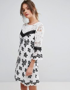 Read more about Miss selfridge mono lace organza dress - multi