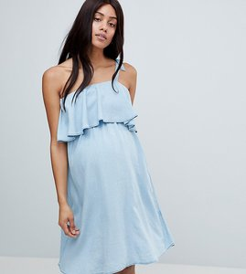 Read more about Mamalicious one shoulder chambray dress - light blue denim