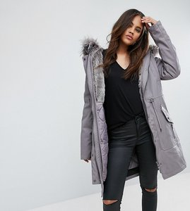 Read more about Asos tall parka with detachable faux fur liner - grey