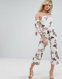 Read more about Oh my love bardot jumpsuit with tie sleeves in floral print - rose garden print