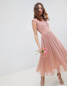 Read more about Asos design embroidered mesh midi dress - dusty pink