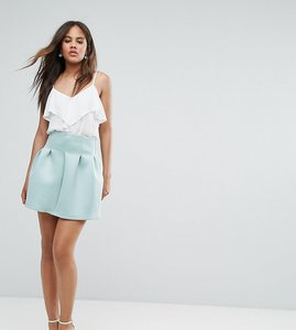 Read more about Asos tall high waisted mini skirt in scuba with lantern detail - mint