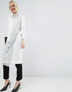 Read more about Asos white knit midi dress with chiffon twist detail - multi