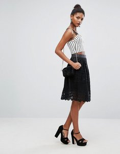 Read more about New look lace midi skater skirt - black