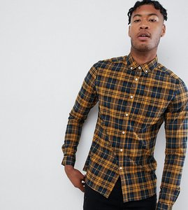 Read more about Asos design tall stretch slim check shirt in navy mustard - yellow