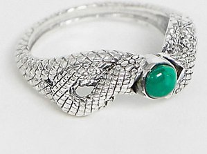 Read more about Reclaimed vintage inspired sterling silver ring with snake design and stone detail in exclusive to a