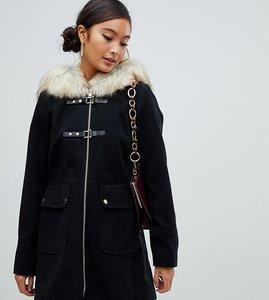 f963823f6bca5 Read more about Miss selfridge duffle coat with faux fur trim hood in black
