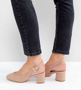 Read more about New look wide fit sling back block heeled shoe - nude