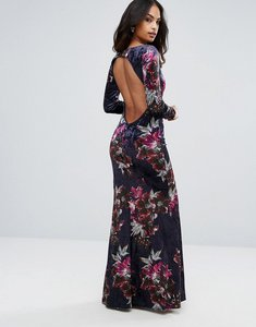 Read more about City goddess long sleeve velvet maxi dress - velvet print