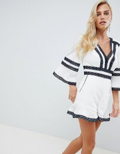 Read more about Forever new lace trim playsuit - blue white