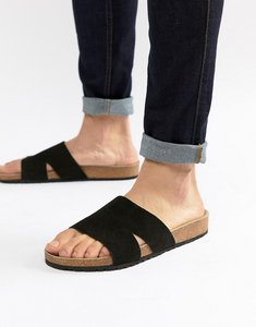 Read more about Asos design slide sandals in black - black
