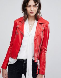 Read more about Lab leather jacket with asymmetric zip - red