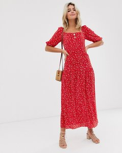 Read more about Asos design prairie plisse maxi dress with tiered hem in ditsy print