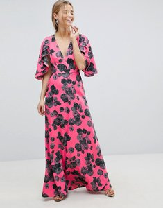 Read more about Asos bright floral maxi dress with ruffle sleeves - bright floral print