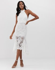 Read more about Asos design high neck midi dress in guipure lace and peplum