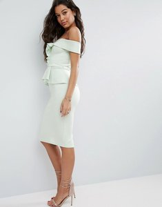 Read more about Asos bardot scuba ruffle peplum midi dress - mint green