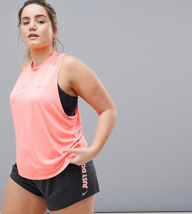 Read more about Nike running plus dry miler tank in pink - pink