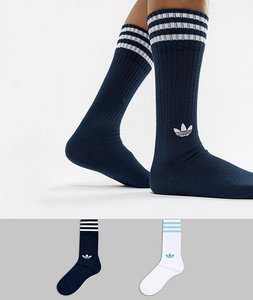 Read more about Adidas originals 2 pack crew socks in navy dh3363 - blue