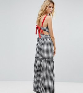 Read more about Asos tall tiered gingham maxi dress with contrast tie back - mono
