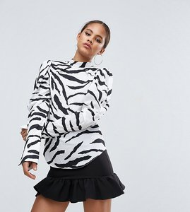 Read more about Asos tall top with extreme sleeve in zebra print - multi