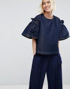 Read more about Asos white denim top with frill sleeve in darkwash blue - blue
