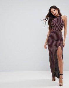 Read more about Asos high neck metallic multi stripe maxi dress - multi