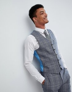 Read more about Harry brown wedding wool blend check slim fit waistcoat - blue