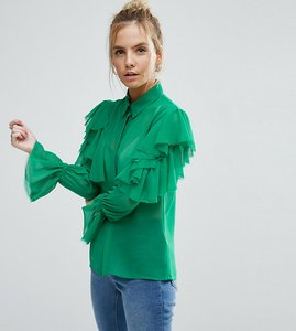 Read more about Asos petite deconstructed ruffle cold shoulder blouse with tie detail - green