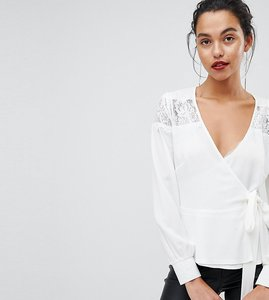 Read more about Outrageous fortune ruffle detail lace insert wrap blouse - cream