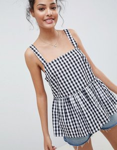 Read more about Asos design smock cami in black gingham - multi